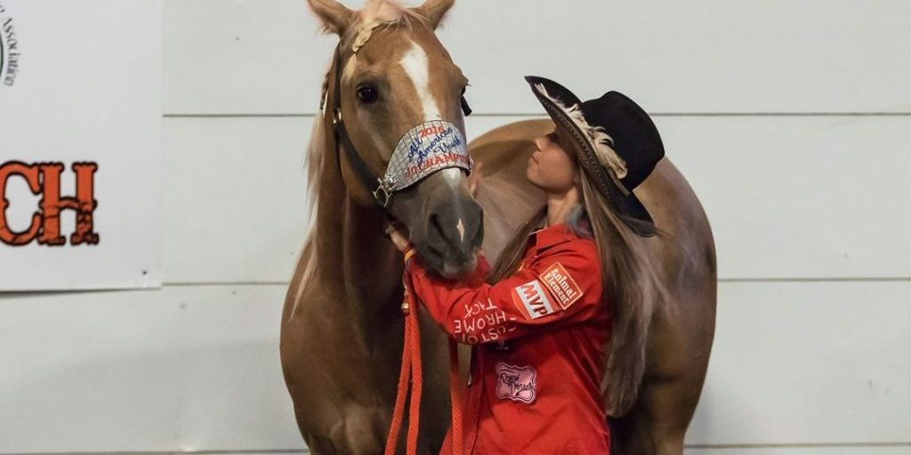 """McKenzie Morgan's best horse """"H2"""" was her most difficult to train. They share a very close bond, which has helped H2 blossom into a winner under McKenzie's guidance. Photo by Lyndsey Ogle Photography"""