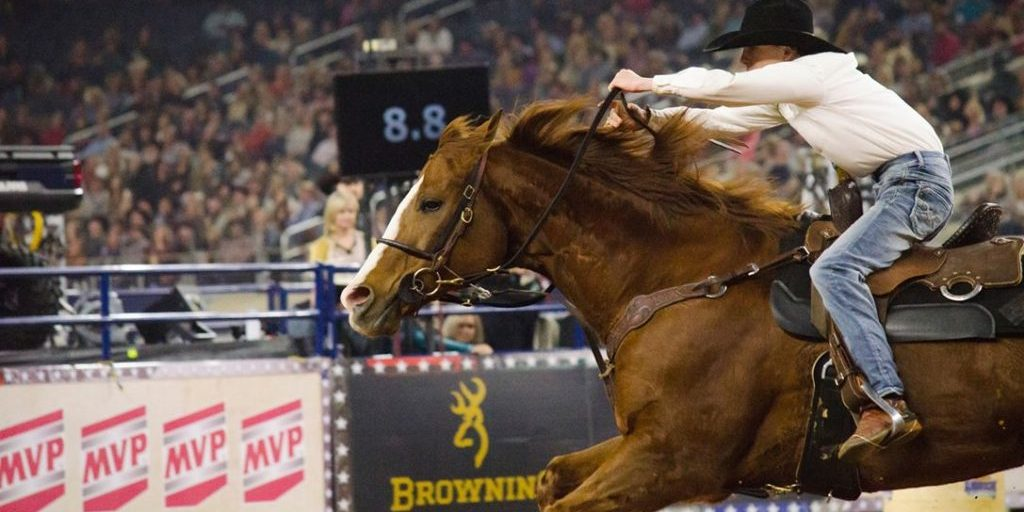 Michael Duffie and Reclaim Fame run at RFD-TV's The American in AT&T Stadium in Arlington, Texas, on March 2, 2019. Barrel Horse News photo by Kailey Sullins.